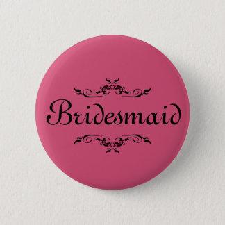 Badge Rond 5 Cm Demoiselle d'honneur florale rose de frontière de