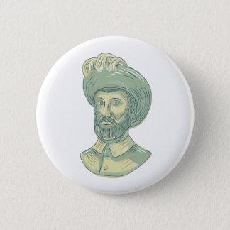 Badge Rond 5 Cm Dessin de buste de Juan SebastiAn Elcano