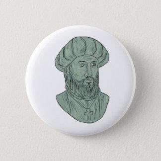 Badge Rond 5 Cm Dessin de buste d'explorateur de Vasco da Gama