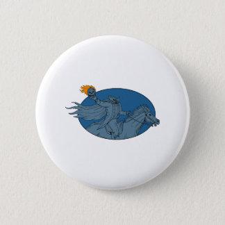 Badge Rond 5 Cm Dessin ovale de cheval de tête de citrouille de