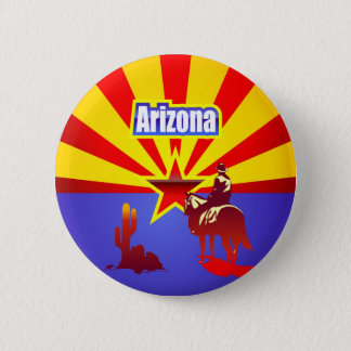 Badge Rond 5 Cm Dessin vintage de drapeau d'état de l'Arizona