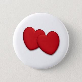 Badge Rond 5 Cm Deux coeurs rouges brillants