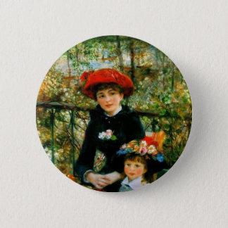 Badge Rond 5 Cm Deux soeurs sur la terrasse par Renoir