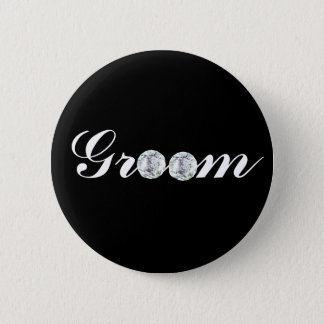 Badge Rond 5 Cm Diamant marié-noir