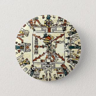 Badge Rond 5 Cm Dieu aztèque de la mort de Xiuhtecuhtli