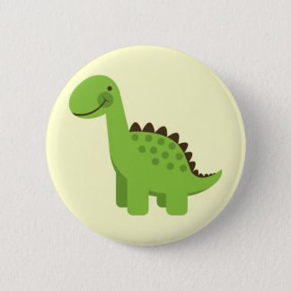Badge Rond 5 Cm Dinosaure vert mignon