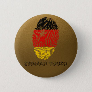 Badge Rond 5 Cm Drapeau allemand d'empreinte digitale de contact