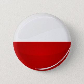 Badge Rond 5 Cm Drapeau brillant de polonais de rond