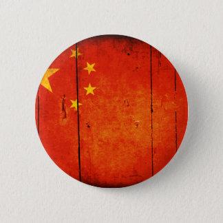 Badge Rond 5 Cm Drapeau chinois en bois