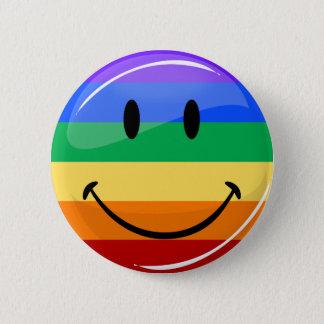 Badge Rond 5 Cm Drapeau de sourire rond brillant de gay pride