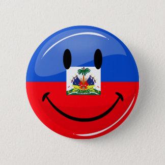 Badge Rond 5 Cm Drapeau haïtien de sourire de rond brillant