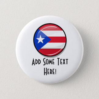 Badge Rond 5 Cm Drapeau portoricain rond brillant