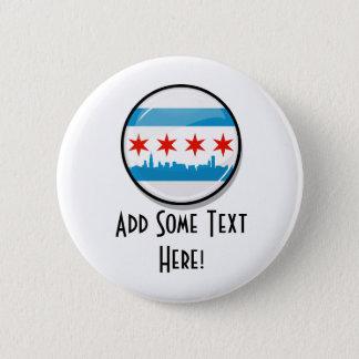 Badge Rond 5 Cm Drapeau rond brillant de Chicago