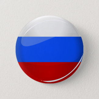 Badge Rond 5 Cm Drapeau rond brillant de la Russie