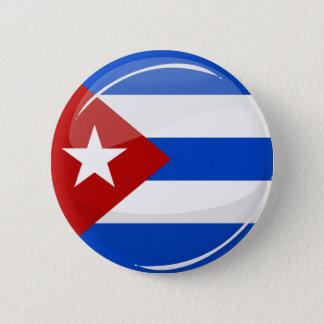 Badge Rond 5 Cm Drapeau rond brillant du Cuba