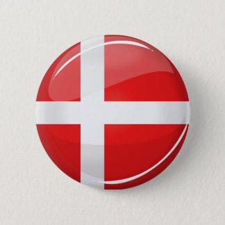 Badge Rond 5 Cm Drapeau rond brillant du Danemark