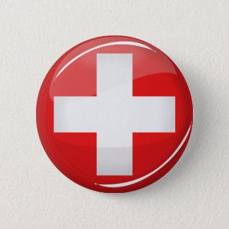 Badge Rond 5 Cm Drapeau suisse rond brillant