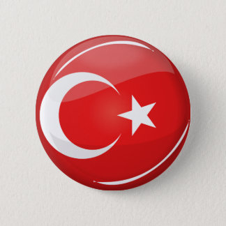 Badge Rond 5 Cm Drapeau turc rond brillant