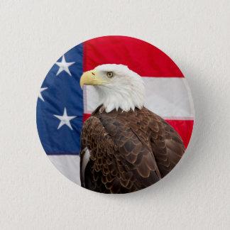 Badge Rond 5 Cm Eagle chauve avec le drapeau américain