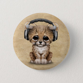 Badge Rond 5 Cm Écouteurs de port mignons de CUB DJ de guépard