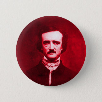 Badge Rond 5 Cm Edgar Allan Poe en rouge