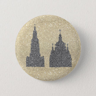 Badge Rond 5 Cm Églises argentées