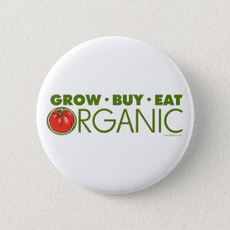Badge Rond 5 Cm Élevez, achetez, mangez organique