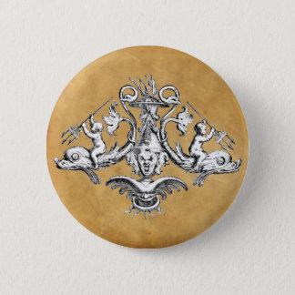 Badge Rond 5 Cm Emblème nautique de dauphin, d'ange et de