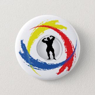 Badge Rond 5 Cm Emblème tricolore Bodybuilding