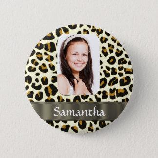 Badge Rond 5 Cm Empreinte de léopard personnalisé