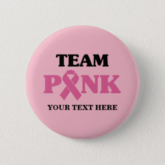 Badge Rond 5 Cm Équipe rose de ruban de cancer du sein