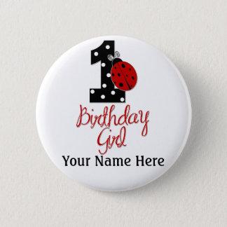 Badge Rond 5 Cm ęr Fille d'anniversaire - Madame Bug - 1 -