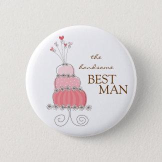 Badge Rond 5 Cm Étiquette de nom de gâteau de mariage/bouton roses
