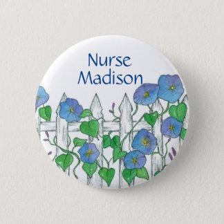 Badge Rond 5 Cm Étiquette de nom d'infirmière de fleurs