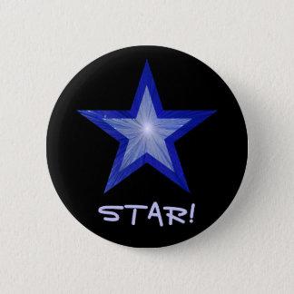 """Badge Rond 5 Cm Étoile bleu-foncé """"ÉTOILE !"""" noir de bouton"""