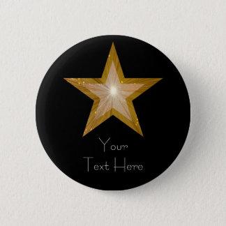 """Badge Rond 5 Cm Étoile de """"or"""" noir de bouton des """"vos textes"""""""