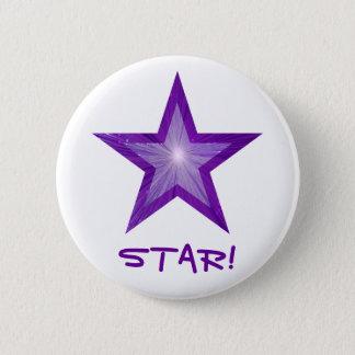 """Badge Rond 5 Cm Étoile pourpre """"ÉTOILE !"""" blanc de bouton"""