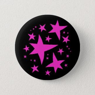Badge Rond 5 Cm Étoiles mignonnes de rose sur le noir