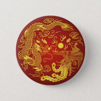 Badge Rond 5 Cm Faveur chinoise de mariage de Phoenix de dragon