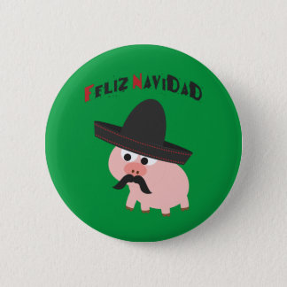 Badge Rond 5 Cm Feliz Navidad ! Porc