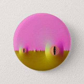 Badge Rond 5 Cm Ferme de fractale dans le rose et le bouton d'or