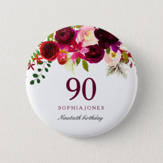 Badge Rond 5 Cm Fête d'anniversaire florale rouge de Bourgogne