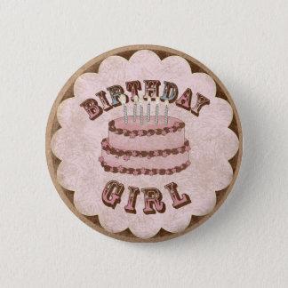 Badge Rond 5 Cm Fille d'anniversaire