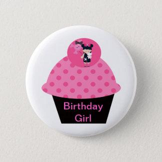 Badge Rond 5 Cm Fille d'anniversaire de petit gâteau de Girlie