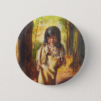 Badge Rond 5 Cm Fille de Natif américain
