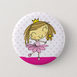 Badge Rond 5 Cm Fille rose mignonne de princesse Ballet