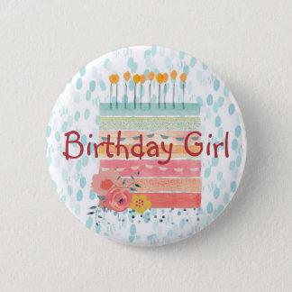Badge Rond 5 Cm Fille Teal d'anniversaire de gâteau d'anniversaire
