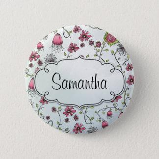 Badge Rond 5 Cm Fleurs élégantes roses avec le cadre pour le nom