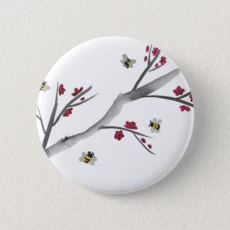 Badge Rond 5 Cm Fleurs et abeilles