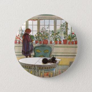 Badge Rond 5 Cm Fleurs sur le rebord de fenêtre par Carl Larsson